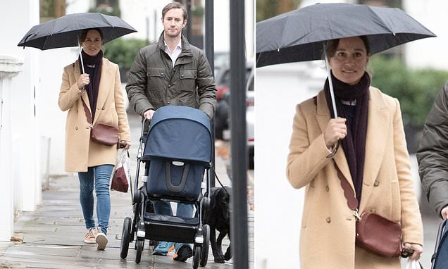 Pippa Middleton and husband James go for stroll with baby Arthur
