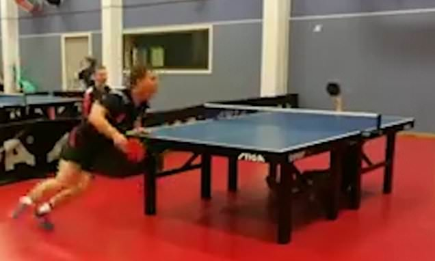 Table tennis player, 15, makes incredible shot from UNDERNEATH table