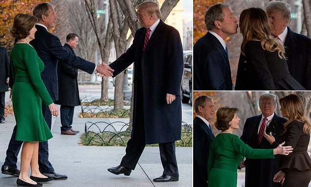 Trumps meet George W. and Laura Bush face-to-face, express condolences