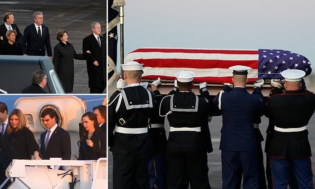 George H.W. Bush makes his final journey home to Texas