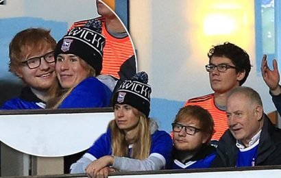Ed Sheeran cuddles up to fiancée Cherry Seaborn at Ipswich game