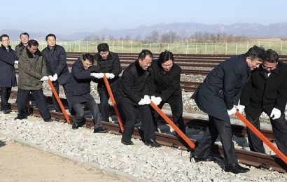 North and South Korea join railways together in a symbolic ceremony