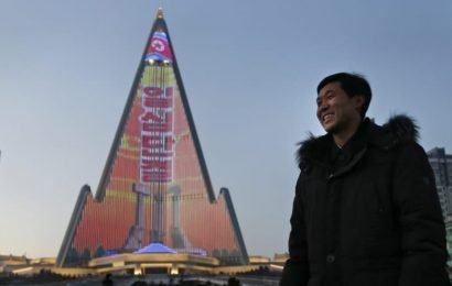 World's tallest uncompleted hotel lights up with North Korean propaganda