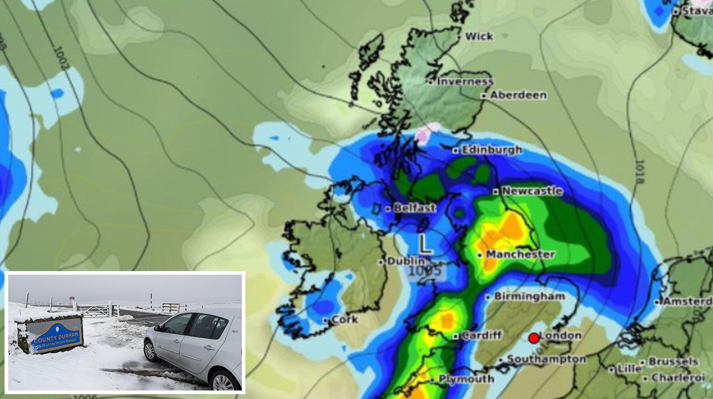 UK weather – Storm Etienne forecast to bring snow and 2ins rain today as Met Office issues 'severe warnings'