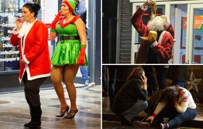 Black Eye Friday mayhem as Christmas boozers brawl in the street and vomit in taxis
