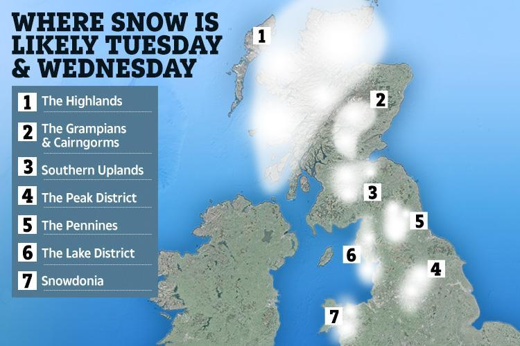 UK weather forecast map reveals where and when snow will fall this week as 20cm forecast in -8C deep freeze