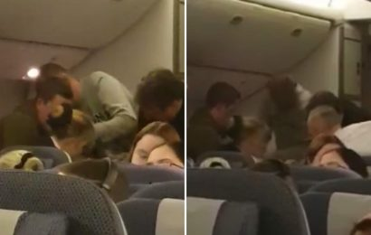 Dramatic moment screaming BA passenger goes 'berserk' at 20,000ft as staff battle to restrain him in mid-air emergency
