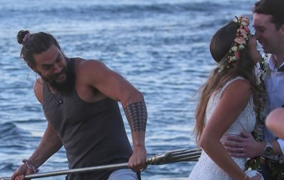 Jason Momoa Crashes Hawaii Wedding & Wields His 'Aquaman' Trident In Epic Photos