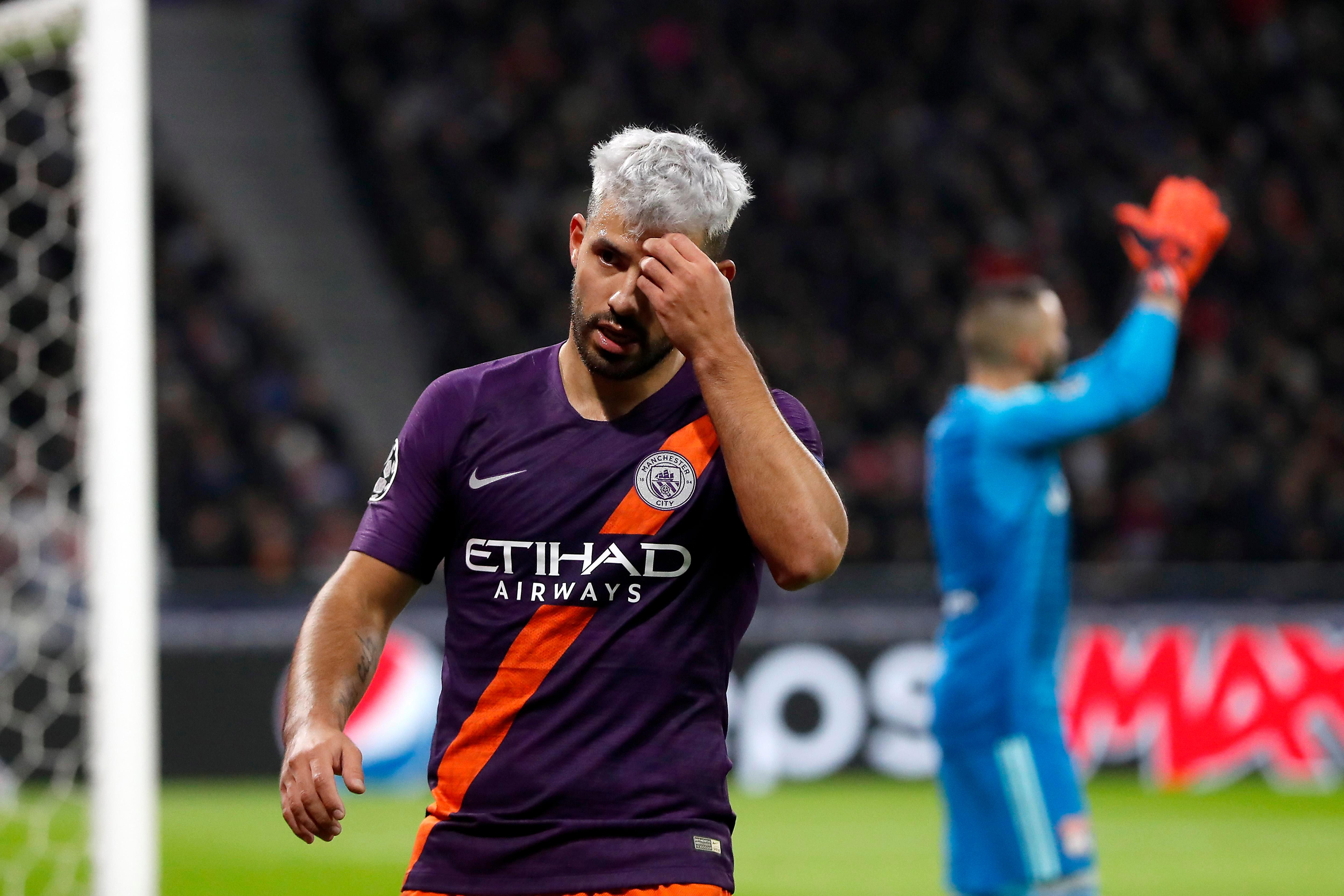 Sergio Aguero out of Man City clash with Chelsea in blow to table toppers