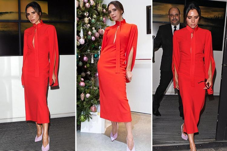 Victoria Beckham turns heads in bright red frock as she throws Christmas party at her London fashion store