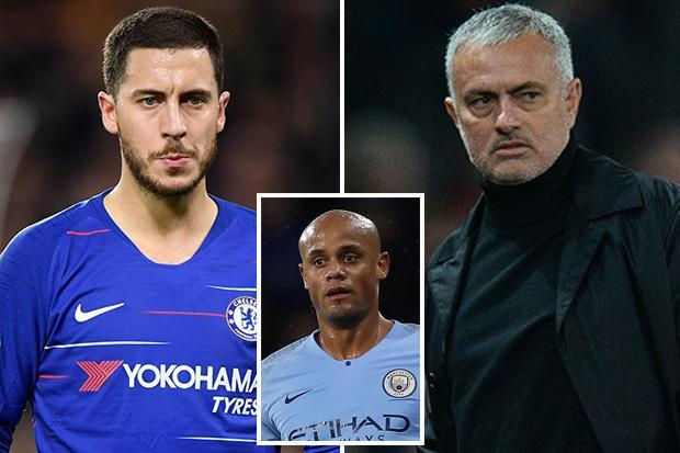 Eden Hazard was shackled at Chelsea by Jose Mourinho, hints Vincent Kompany in swipe at the Man Utd boss