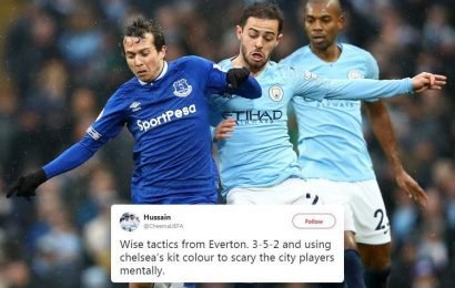 Everton looked like Chelsea as they took on Man City – and fans think it was deliberate tactic