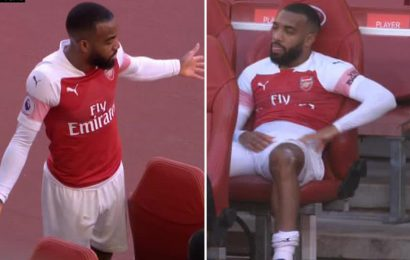 Lacazette rages about being subbed off again by Unai Emery in Arsenal win