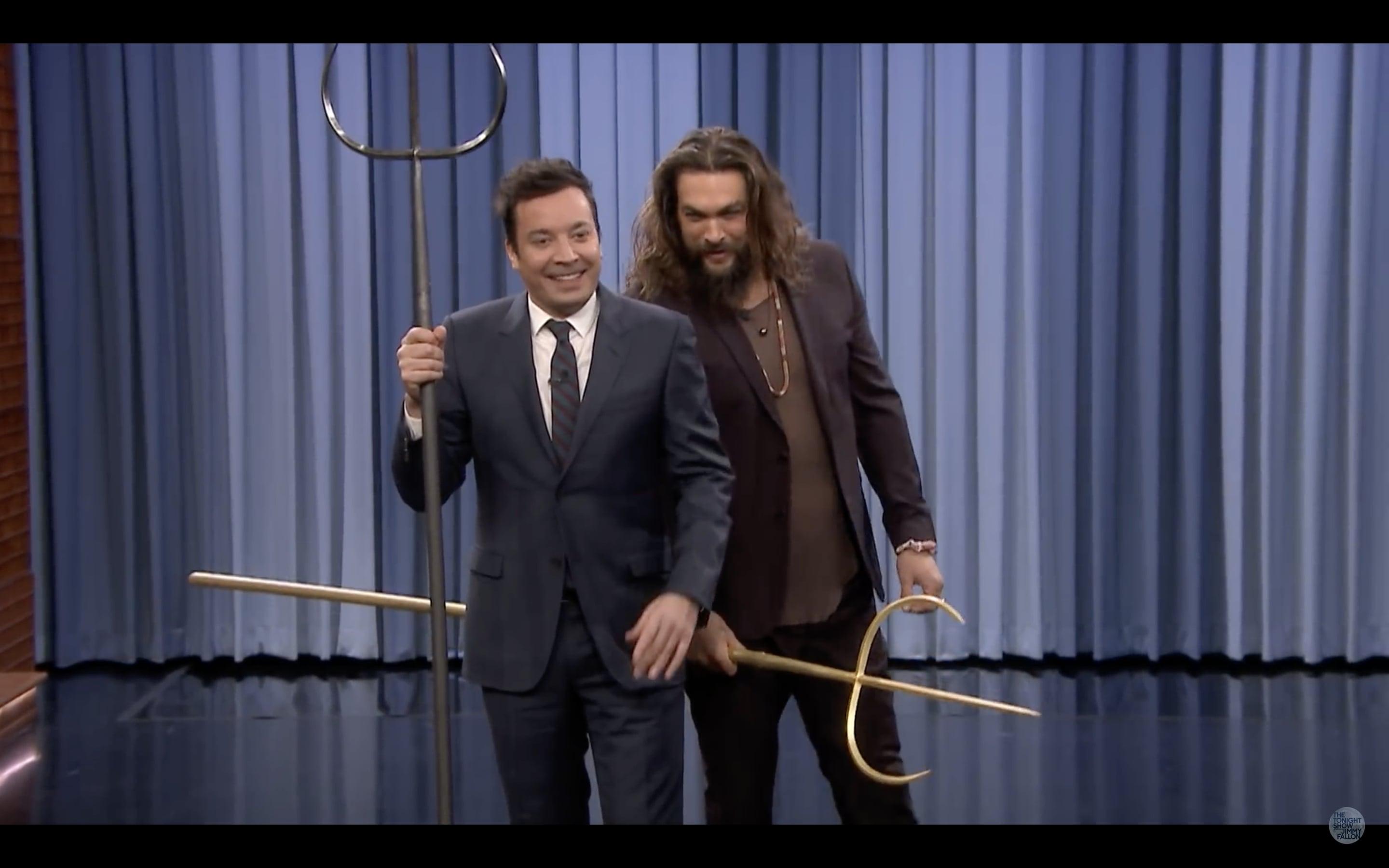 Watch 'Aquaman' Jason Momoa's Trident-Throwing Competition on 'Fallon'