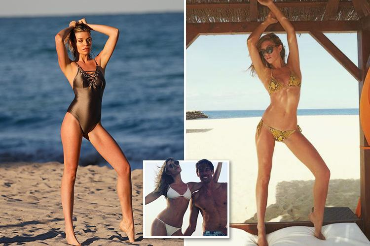 Sultry Abbey Clancy stretches long legs in beach photo shoot for her new Lipsy swimwear range