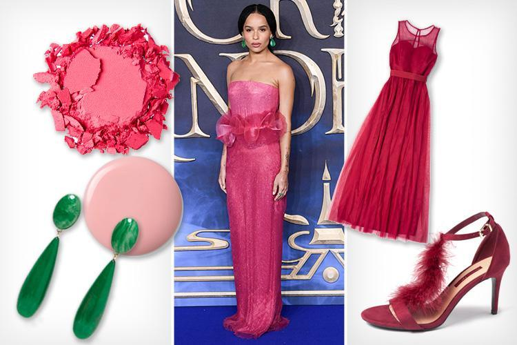 How to look like actress Zoë Kravitz who stuns in a hot-pink, super-sophisticated statement gown