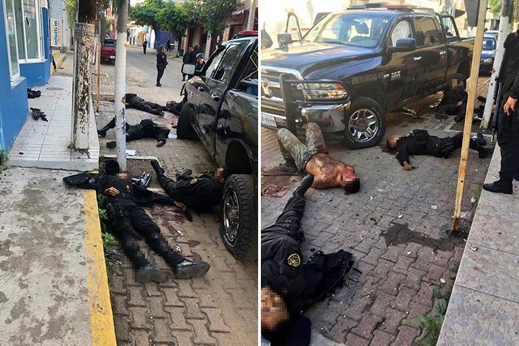 Shocking pics show bullet-riddled bodies of six Mexico cops shot dead by gang trying to free prisoner as crime epidemic escalates
