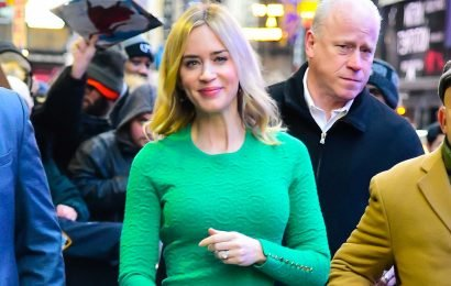 Emily Blunt braves the NYC cold in bare legs and sandals
