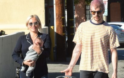 Hilary Duff and Matthew Koma take baby Banks out for a walk
