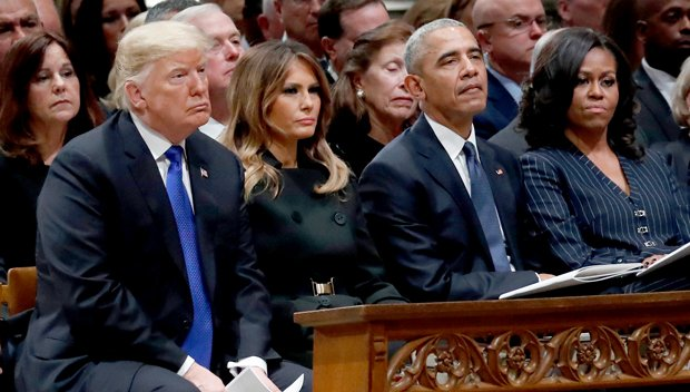 Kimmel: Michelle Obama's Reaction To Trumps At Bush's Funeral So Frosty She'd Reverse Global Warming