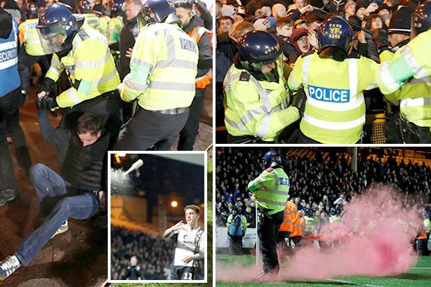 Twelve arrests and Port Vale steward hurt as Stoke fans rip out chairs, throw bottles and set off flares in Checkatrade Trophy clash
