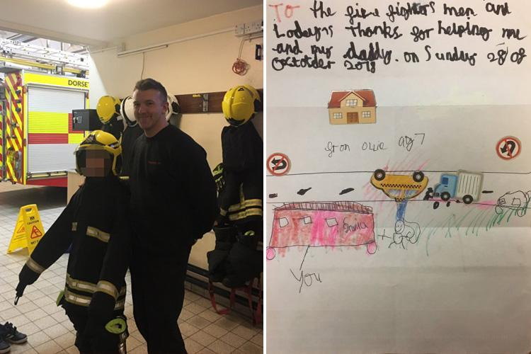 Boy, 7, gives heartbreaking drawing to firefighters to thank them for saving him and his dad from crash that killed two