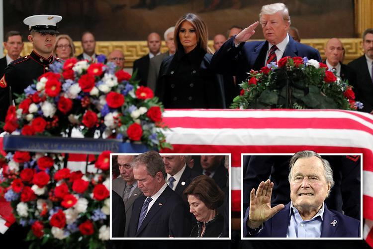 George HW Bush remembered as 'last gentleman president' as hundreds – including Donald Trump – pay their respects at US Capitol