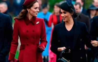 Kate and Meghan put rumours of rift to bed as they chat together ahead of Christmas Day church service