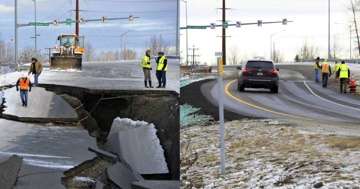 Collapsed Alaska highway ramp reopened four days after quake
