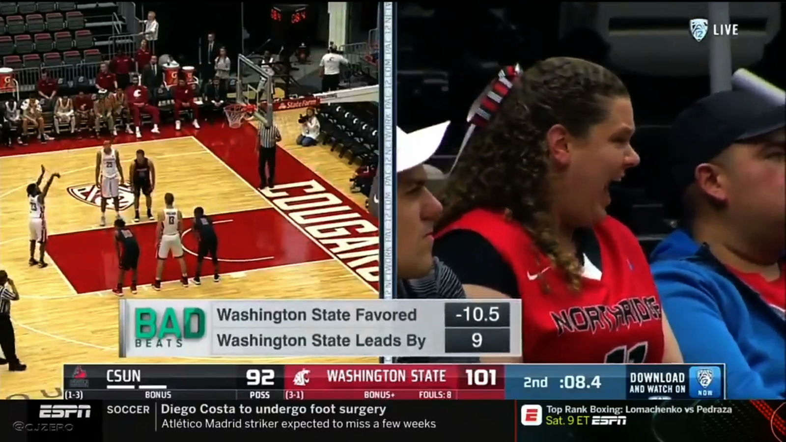 Cal State Northridge Basketball Fan Shrieks Like She's Dying During Free Throws