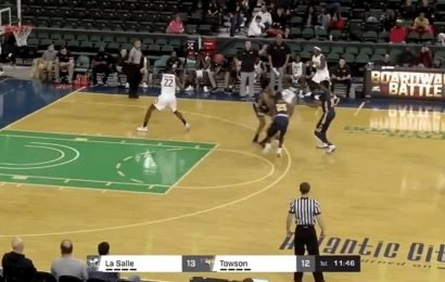 Towson'sSolomon Uyaelunmo Throws Down Two-Handed Slam Into Wrong Basket