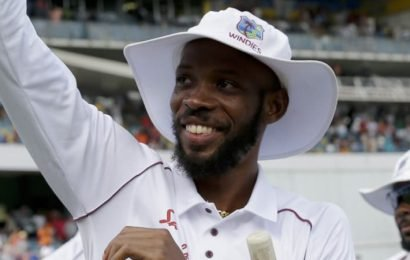 Part-time spinner takes eight wickets in second innings as Windies crush England