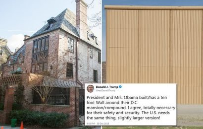 The Obamas DON'T have a 10-foot wall as Trump claims in Tweet