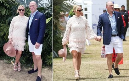 Zara and Mike Tindall arrive at the Magic Millions Polo event