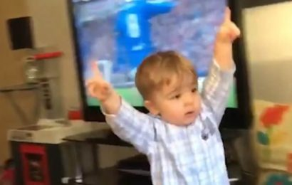 Adorable moment a 19-month-old Rangers fan celebrates a goal