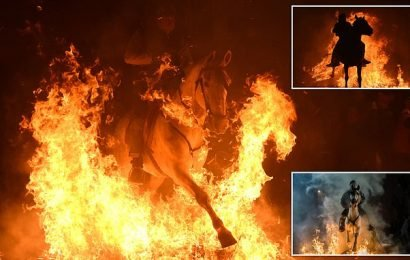Night mares! Horses ridden through flames at annual Spanish festival