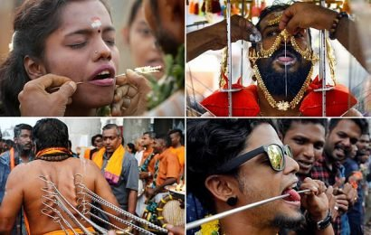 Hindus skewer their faces to show their devotion in Malaysia