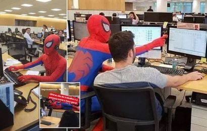 Bank worker quits his job and turns up dressed as Spider-Man
