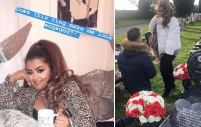 X Factor's Scarlett Lee shows off engagement ring for the first time since her boyfriend popped the question in a graveyard