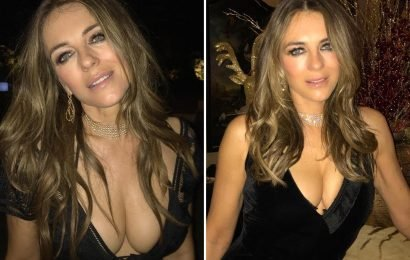 Liz Hurley wears plunging black dress as she continues idyllic New Year trip to India with her 16-year-old son Damian