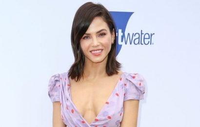 Jenna Dewan Spills Out Of Lilac Printed Dress With Plunging Neckline
