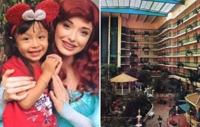 Girl, 3, dies on Disneyland holiday jumping from fifth floor hotel balcony while trying to reach family four floors below