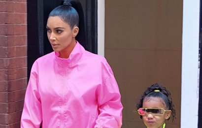 North West Raids Kim Kardashian's Closet To Try On Her Neon Flame Heels — Cute Pic