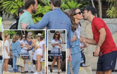 Spencer Matthews and Vogue Williams bid farewell to Pippa Middleton and baby Arthur after family holiday in St Barts