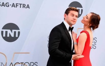 Newlyweds Allen Leech and Jessica Herman put on loved-up display at the SAG Awards