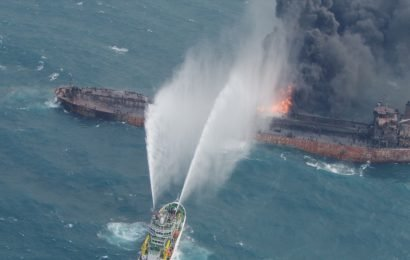 Burning Iranian oil tanker sinks, 29 crew feared dead