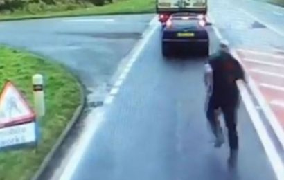 Road rage lorry driver swings punch after being confronted over overtake