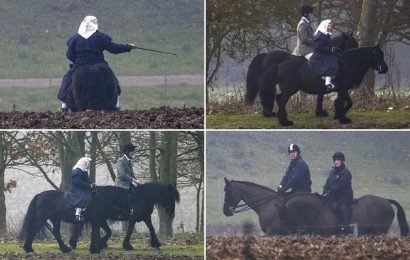 Prince Andrew joins the Queen for a trip out horse riding