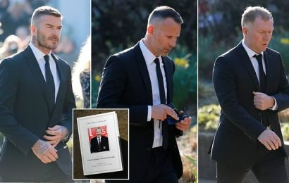 United icons Beckham and Neville attend funeral of Eric Harrison
