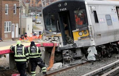 The moment two LIRR trains collide with truck, killing 3